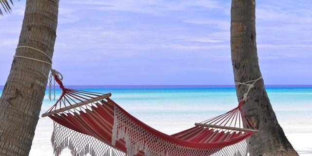 hangmat tussen palmen aan tropisch zandstrand | Mijn Keus