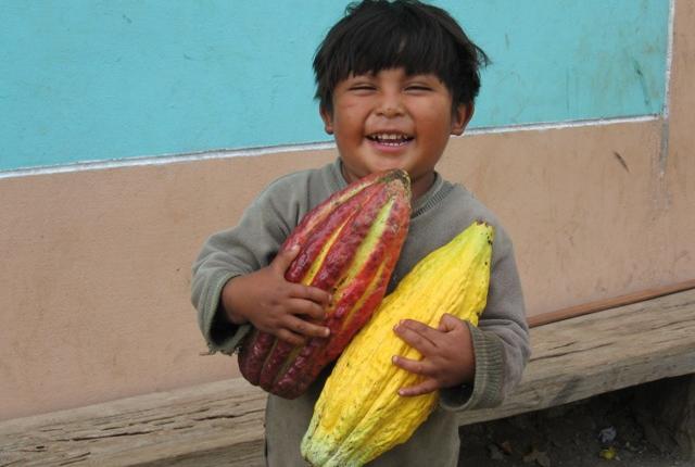 Chocolate Makers | vrolijk indianenkind met grote cacaobonen